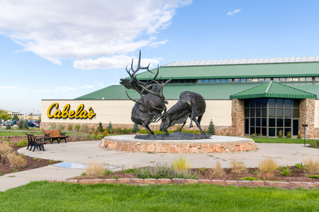 fishingpole: SIDNEY, NEUSA - OCTOBER 3, 2016: Cabelas retail exterior at corporate headquarters. Cabelas retails hunting, fishing, camping, shooting, and related outdoor recreation merchandise.