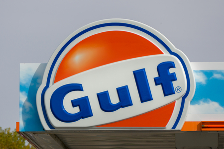 ceased: STILLWATER, MNUSA - OCTOBER 6, 2016: Gulf Oil exterior sign and logo. Gulf Oil Corporation (GOC) ceased to exist as an independent company in 1985, when it merged with Standard Oil of California.