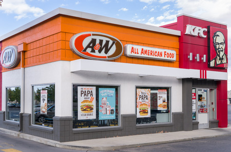 PROVO, UTUSA - OCTOBER 2, 2016: A&W and KFC restaurant exterior and logo. A&W Restaurants, Inc., is a chain of fast-food restaurants.