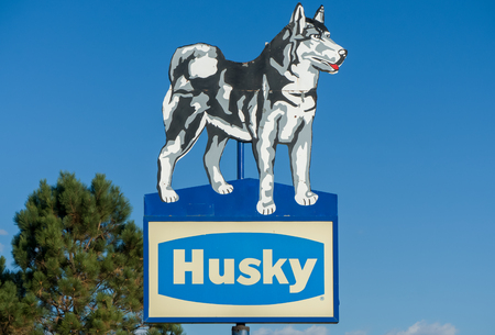 CHEYENNE, WY/USA - OCTOBER 3, 2016: Husky Energy sign and logo. Husky Energy Inc. is a Canadian integrated energy company. Editorial