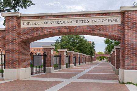 nebraska: LINCOLN, NEUSA - OCTOBER 2, 2016: University of Nebraska Athletics Hall of Fame walkway on the campus of the University of Nebraska.