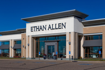 WOODBURY, MNUSA - NOVEMBER 13, 2016: Ethan Allen store exterior and logo. Thomasville Furniture Industries is a full-line furniture manufacturer. Editorial