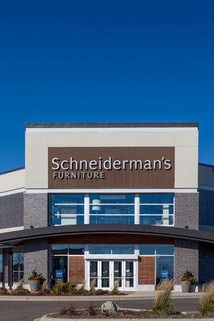 WOODBURY, MNUSA - NOVEMBER 13, 2016: Schneidermans furniture store exterior and log. Schneidermans is a chain of furniture stores in the United States.