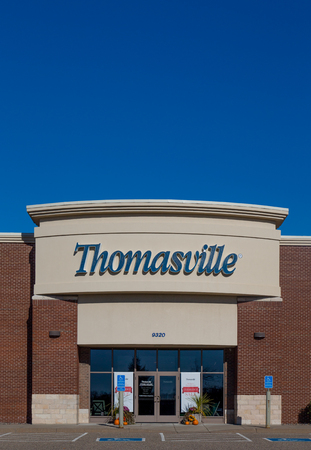 furniture store: WOODBURY, MNUSA - NOVEMBER 13, 2016: Ethan Allen store exterior and logo. Thomasville Furniture Industries is a full-line furniture manufacturer. Editorial