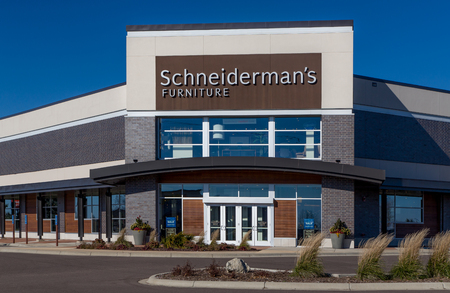 furniture store: WOODBURY, MNUSA - NOVEMBER 13, 2016: Schneidermans furniture store exterior and log. Schneidermans is a chain of furniture stores in the United States.