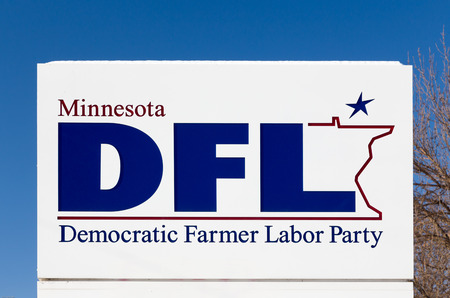 ST. PAUL, MNUSA - JANUARY 14, 2017: Minnesota DFL party sign and logo. The DFL is a social liberal political party in the U.S. state of Minnesota. Editöryel