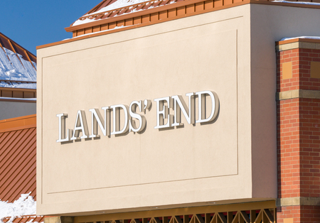 home furnishings: MINNEAPOLIS, MNUSA - JANUARY 14, 2017: Lands End retail store exterior and trademark. Lands End is an American clothing retailer that specializes in casual clothing, luggage, and home furnishings.