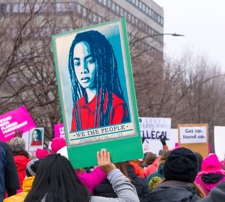 public demonstration: ST. PAUL, MNUSA - JANUARY 21, 2016: Unidentified particpants at the 2017 Womens March Minnesota. The Womens March represented the worldwide protest to protect womens rights and other causes.