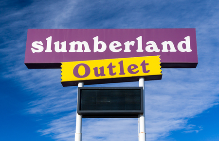 NORTH BRANCH, MNUSA - JANUARY 29, 2017: Slumberland retail exterior sign and logo. Slumberland Furniture, Inc. is a furniture retailer in the United States. Editorial