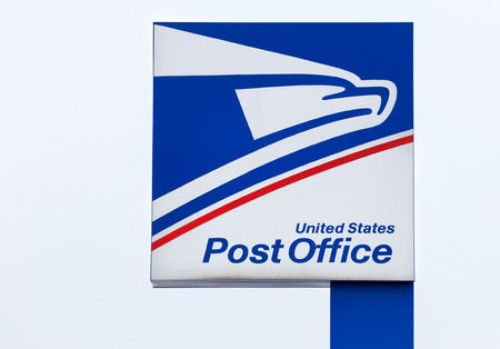 AMERY, WIUSA - JANUARY 22, 2017: United States Postal Service sign and logo.