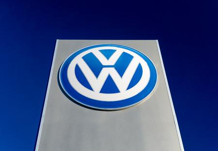ROSEVILLE, MN/USA - FEBRUARY 5, 2017: Volkswagen dealership sign and logo. Volkswagen is a German car manufacturer.