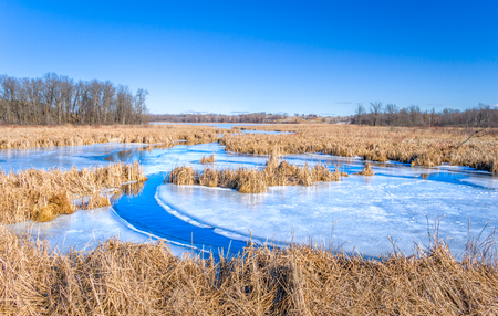 Winter view of Wolf Lake in near Grantsburg, Wisconsin, USA. Stock Photo