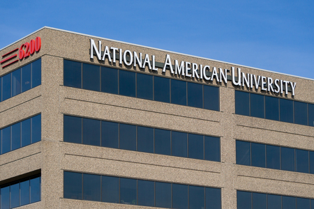 post secondary schools: MINNEAPOLIS, MNUSA - MARCH 4, 2017: National American University exterior. National American University (NAU) is a for-profit university owned by National American University Holdings, Inc.