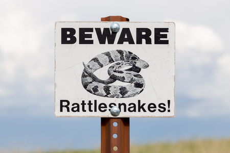 Beware of Rattlesnakes sign and post.