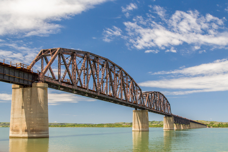 Dakota Southern Missouri River Railroad Crossing in Chamberlain, South Dakota, USA. Stock Photo