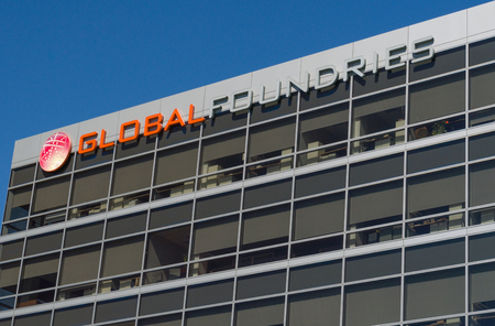 SANTA CLARA, CAUSA - JULY 29, 2017: Globalfoundaries corporate headquarters building and logo. GlobalFoundries is a semiconductor foundry.
