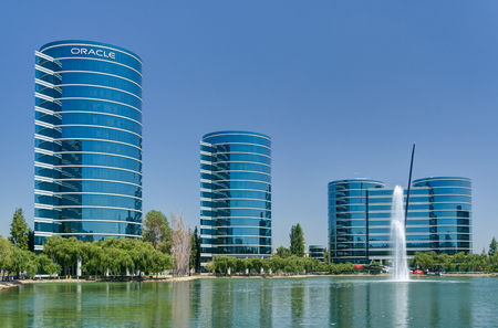 REDWOOD CITY, CAUSA - JULY 30, 2017: Oracle world headquarters and campus. Oracle Corporation is a multinational computer technology corporation.