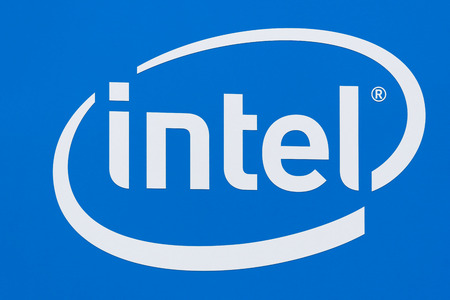 SANTA CLARA, CAUSA - JULY 29, 2017: Intel Corporation logo. Intel is an American multinational corporation and technology company.