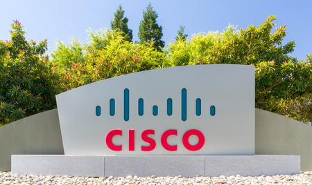 SAN JOSE, CAUSA - JULY 30, 2017: Cisco corporate headquarters and logo. Cisco Systems, Inc. is an American multinational technology conglomerate.