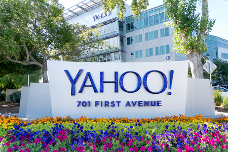 SUNNyVALE, CA/USA - JULY 29, 2017: Yahoo corporate headquarters and sign. Yahoo! is a web services provider wholly owned by Verizon Communications.