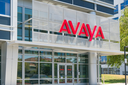 SANTA CLARA, CAUSA - JULY 29, 2017: Avaya corporate headquarters exterior and logo. Avaya is an American multinational technology specializing in voice data communication systems and services.