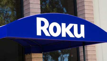 LOS GATOS, CA/USA - JULY 29, 2017: Roku Silicon Valley corporate headquarters and logo. The Roku Streaming Player is a series of digital media player set-top boxes manufactured by Roku, Inc.