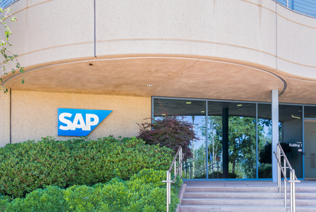 PALO ALTO, CAUSA - JULY 29, 2017: SAP SE coporate building and logo. SAP SE makes enterprise software to manage business operations and customer relations.