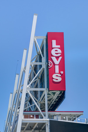 levi: SANTA CLARA, CAUSA - JULY 29, 2017: Levis Stadium exterior logo and trademark. Levis Stadium is a football stadium and home of the San Francisco 49ers of the National Football League.