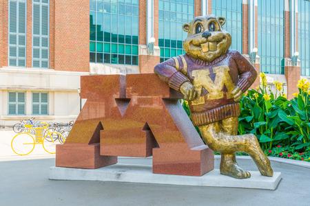MINNEAPOLIS, MNUSA - SEPTEMBER 10, 2017: Goldy Gopher mascot on the campus of the University of Minnesota. Stock Photo