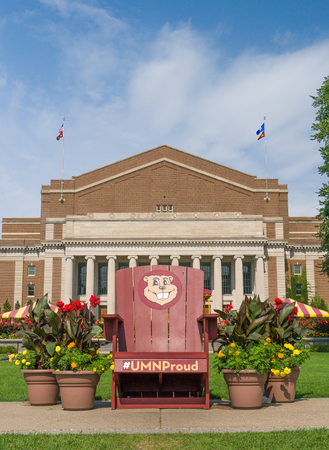 MINNEAPOLIS, MNUSA - SEPTEMBER 10, 2017: Goldy Gopher mascot chair and mall of the campus of the University of Minnesota. Editorial