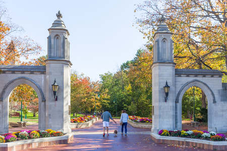 BLOOMINGTON, INUSA - OCTOBER 22, 2017: Unidentified individuals and Sample Gates on the campus of the University of Indiana.