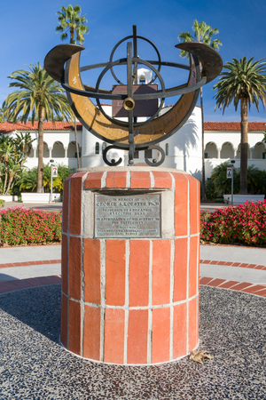SAN DIEGO, CAUSA - JANUARY 13, 2018: Sun dail in front of Hepner Hall on the campus of San Diego State University. SDSU, San Diego State is a public research university.