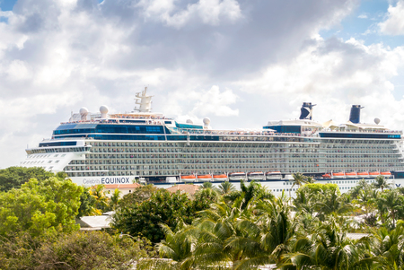 FORT LAUDERDALE, FLUSA - APRIL 14, 2017: Celebrity Equinox cruise ship. Celebrity Cruises is a premium cruise line which was founded in 1988 by the Greece-based Chandris Group. Editorial