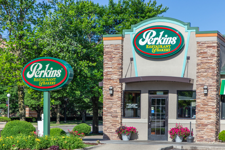 URBANA, ILUSA - JUNE , 2018:  Perkins Restaurant and Bakery. Perkins is a North American casual dining restaurant chain. Editorial