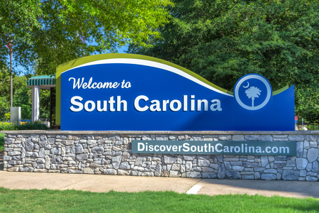 COLUMBIA, SC/USA - JUNE 4, 2018: South Carolina travel center entrance sign and logo. South Carolina is a southern state in the United States.