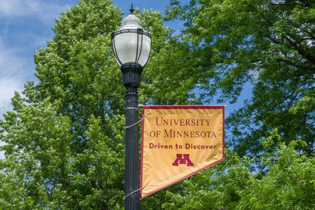 MINNEAPOLIS, MN/USA - JUNE 28, 2018: Campus colors and emblem on the campus of the University of Minnesota. Editorial