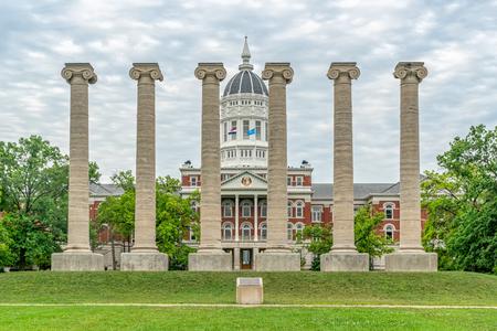 COLUMBIA, MO/USA - JUNE 9 , 2018: Lonic columns and Jess Hall at the University of Missouri.