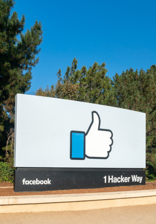 MENLO PARK, CA/USA - OCTOBER 21, 2018: Facebook corporate headquarters campus sign in Silicon Valley.