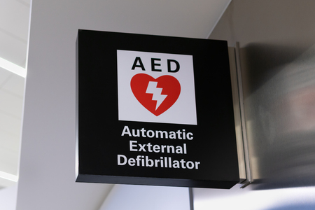 Automated external defibrillator sign and logo. AED is used to treat persons with heart attacks.