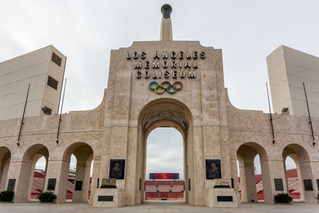 LOS ANGELES, CAUSA - FEBRUARY 7, 2015: Los Angeles Memorial Coliseum. Los Angeles Memorial Coliseum is a sports stadium in the University Park neighborhood of Los Angeles.