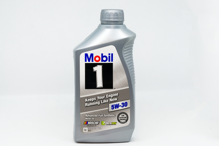ST. PAUL, MNUSA - JANUARY 27, 2019: Mobil 1synthetic motor oil container. Mobil 1 is a brand of synthetic motor oil and other automotive lubrication products.