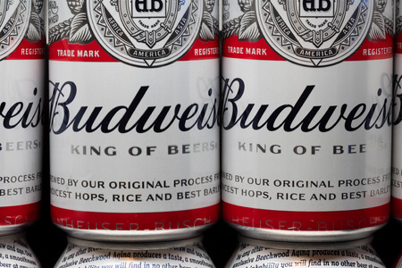 ST. PAUL, MNUSA - FEBRUARY 16, 2019: Grouping of Budweiser beer and trademark logo. Budweiser is an American-style pale lager produced by Anheuser-Busch.