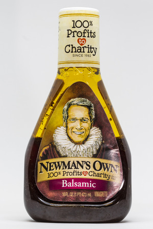 ST. PAUL, MNUSA - FEBRUARY 20, 2019: Newmans Own Balsamic salad dressing and trademark logo. Newmans Own is a food company founded by the late actor Paul Newman.