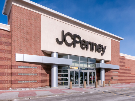ST. PAUL, MN/USA - MARCH 3, 2019: JC Penny retail store exterior and trademark logo. J. C. Penney Company, Inc. is an American department store chain. Editorial