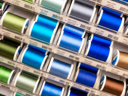 ST. PAUL, MNUSA - MARCH 3, 2019: Sulky of America spools of thread and trademark logo. Sulky is a manufacter of thread and craft supplies.