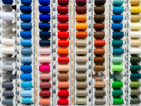 ST. PAUL, MNUSA - MARCH 3, 2019: Gutermann Thread spools of thread and trademark logo. Gutermann Thread is a manufacter of thread and craft supplies.