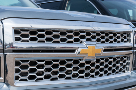 STILLWATER, MN/USA - MARCH 24, 2019: Chevrolet automobile truck grille and trademark logo.