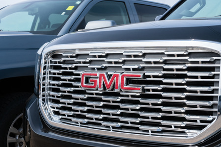 STILLWATER, MN/USA - MARCH 24, 2019: GMC automobile truck grille and trademark logo.