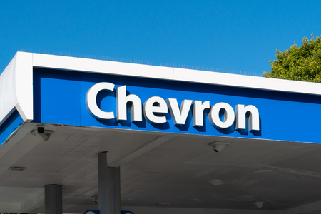 SANTA MONICA, CAUSA - APRIL 18, 2019: Chevron automobile filling station and trademark logo.