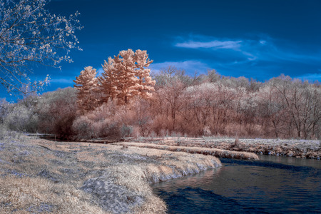River, forest and clouds in vibrant infrared color.